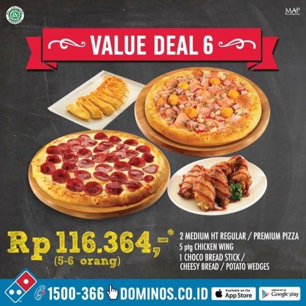 Domino's Pizza Promo Value Deal 6 Rp. 116.364,-