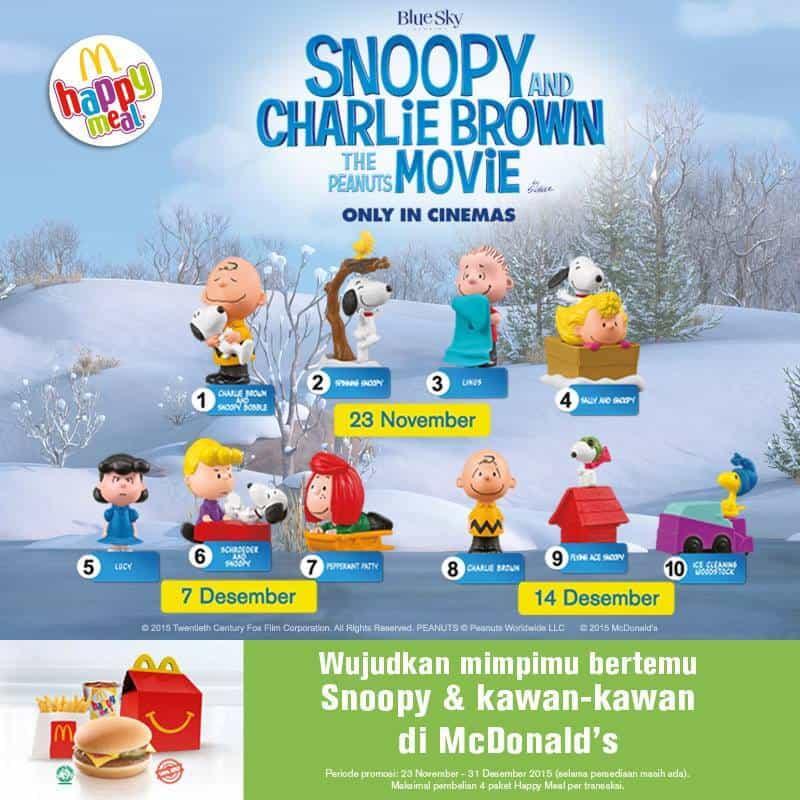 McDonald's Special Promo Happy Meal Gratis Mainan The Peanuts Movie