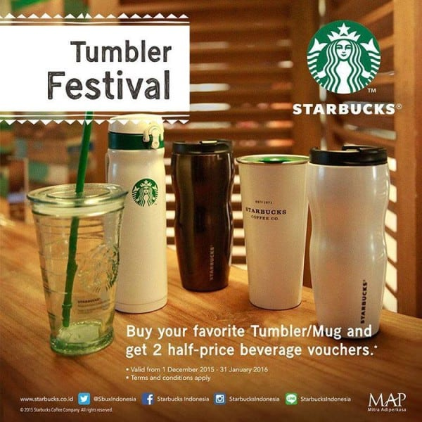 Starbucks Promo Tumbler Festival  Beli 1 Gratis 2 Voucher