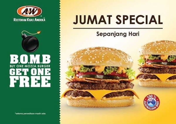 "A&W Promo Jumat Special ""B.O.M.B"" Buy One Mozza Burger Get One Free"