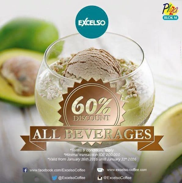 Excelso Coffee Promo All Beverges Diskon 60%