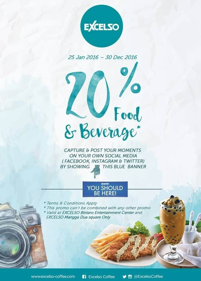 Excelso Coffee Promo Diskon 20% Food & Beverage