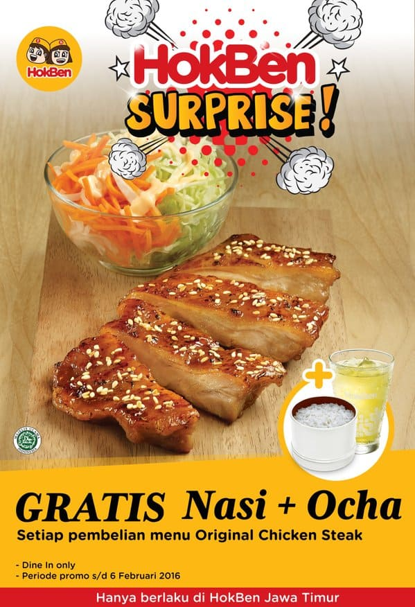 Hoka Hoka Bento Promo Surprise Gratis Nasi + Ocha