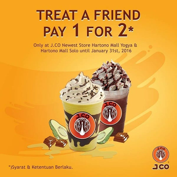 J.CO Promo Spesial Treat A Friend Pay 1 For 2