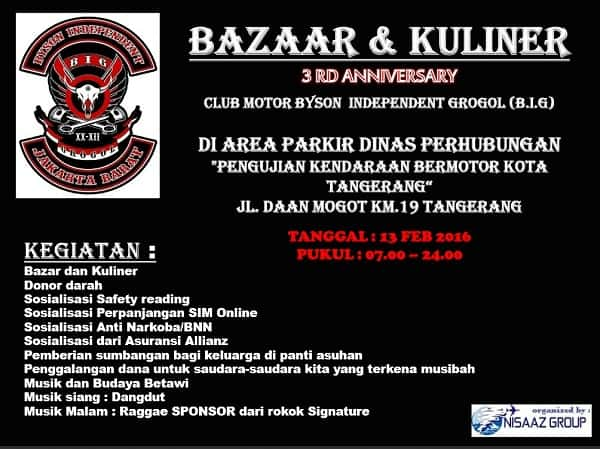 Bazaar & Kuliner 3rd Anniversary Club Motor Byson Independent Grogol (B.I.G)