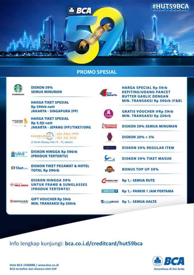 BCA Promo Ulang Tahun Ke 59 Diskon Hingga 59% All Merchant