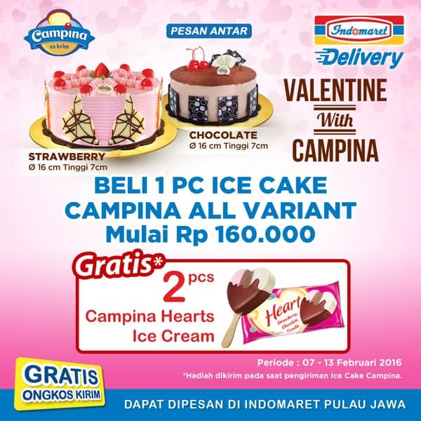 Campina Indomaret Promo Spesial Valentine, Beli 1 Ice Cake Gratis 2 Psc Campina Hearts Ice Cream