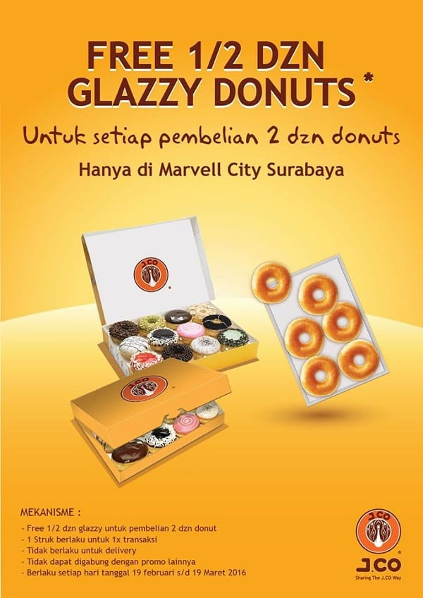 J.Co Donuts Promo Free 1/2 Dzn Glazzy Donuts