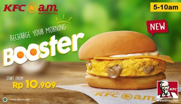 KFC Promo Menu Breakfast Booster Harga Mulai Rp. 10.909,-