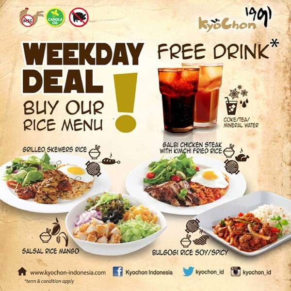 Kyochon Promo Weekday Deal Free Drink