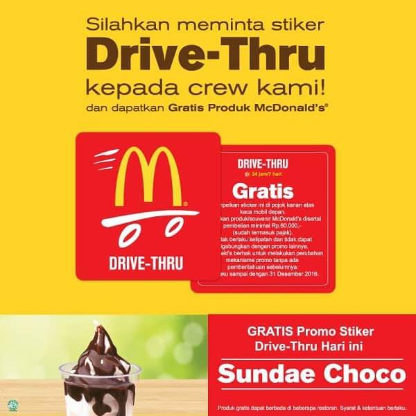McDonald's Promo Drive Thru Gratis Sundae Choco