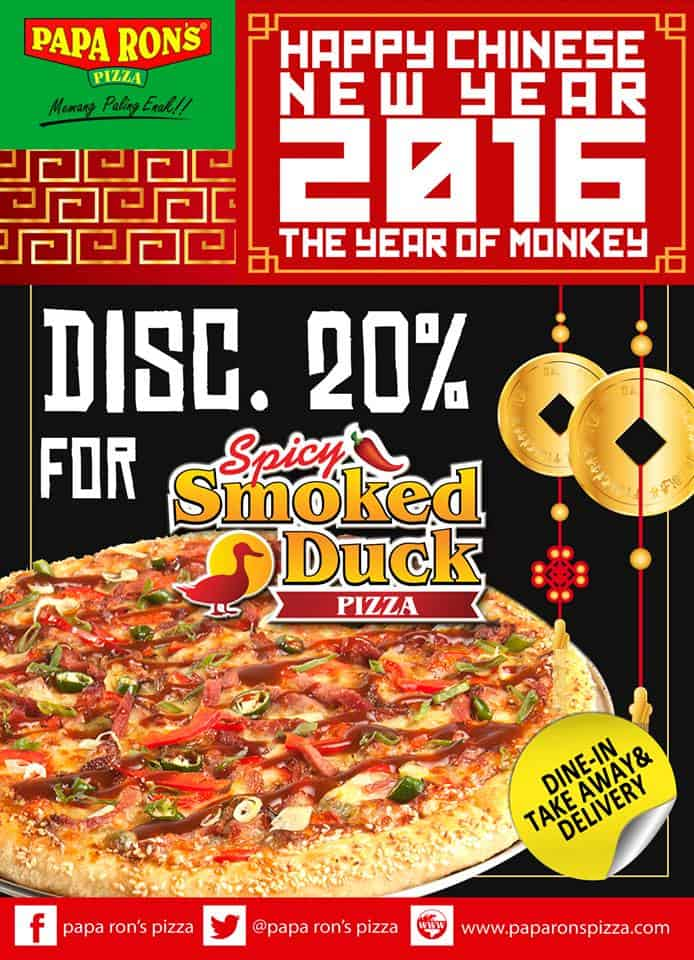 Papa Ron's Pizza Promo Imlek Diskon 20% untuk Spicy Smoked Duck