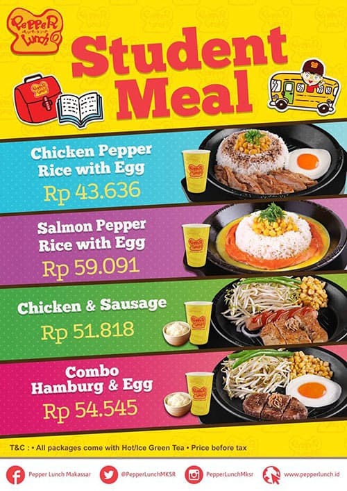 Pepper Lunch Promo Student Meal Harga Mulai Rp. 43.636,-