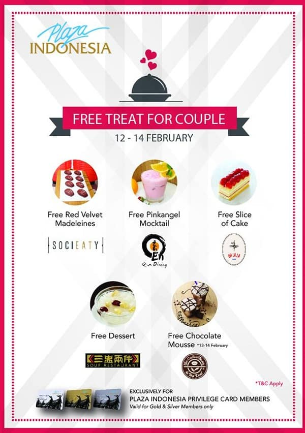 Plaza Indonesia Promo Spesial Valentine Free Treat for Couple di 5 Store Pilihan