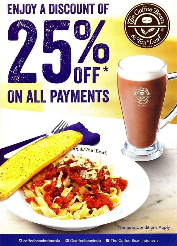 The Coffee Bean Promo Diskon 25% di Plaza Blok M