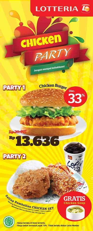 Lotteria Promo Chicken Party Harga Mulai Rp. 13.636,-