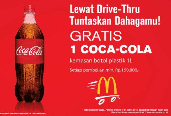 McDonald's Promo Drive-Thru Gratis Coca Cola 1 Liter