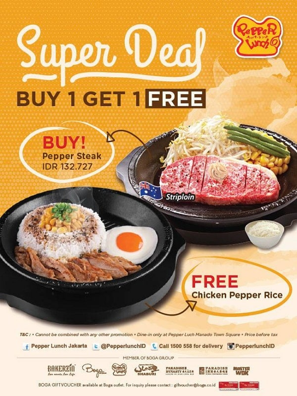 Pepper Lunch Promo Super Deal Buy 1 Get 1 Free