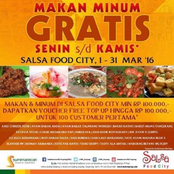 Salsa Food City Promo Senin s/d Kamis Makan Minum Gratis