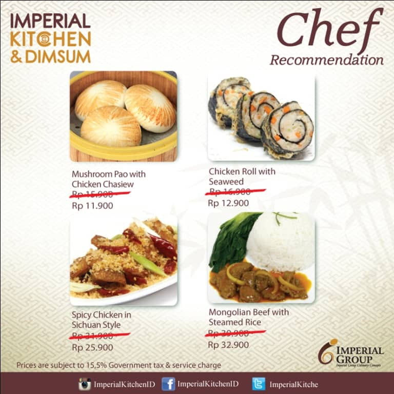 Chef Recommendation at Imperial Kitchen