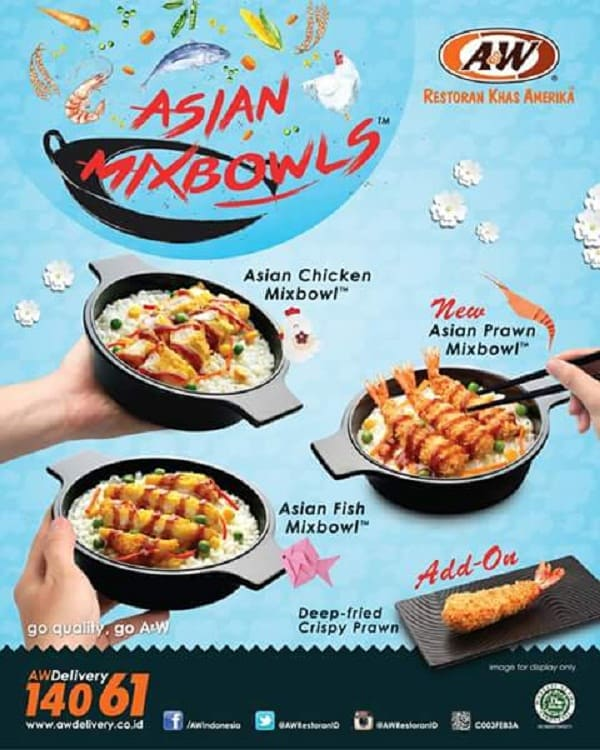 A&W Delivery Promo Asian MixBowls Harga Mulai Rp. 20.000an