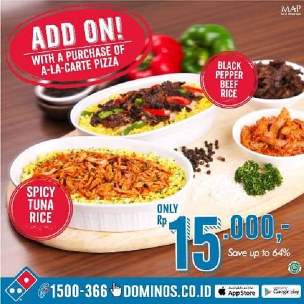Domino's Pizza Promo Add On Hanya Rp. 15.000,-