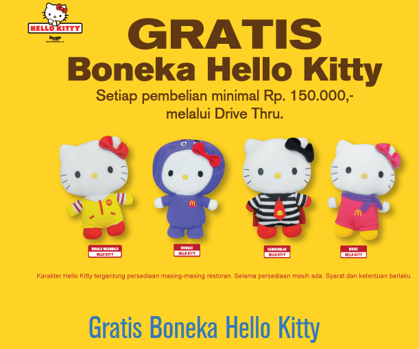 McDonald's Promo Drive Thru Gratis Boneka Hello Kitty