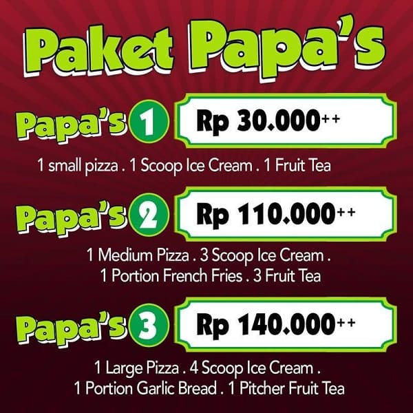 Papa Ron's Pizza Promo Paket Papa's Harga Mulai Rp. 30.000,-