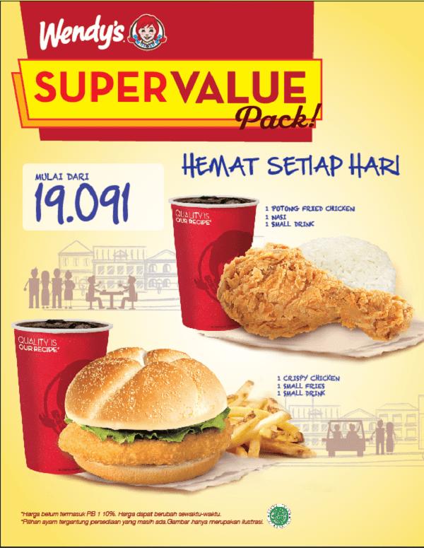 Wendy's Promo Super Value Pack Harga Mulai Dari Rp. 19.091,-