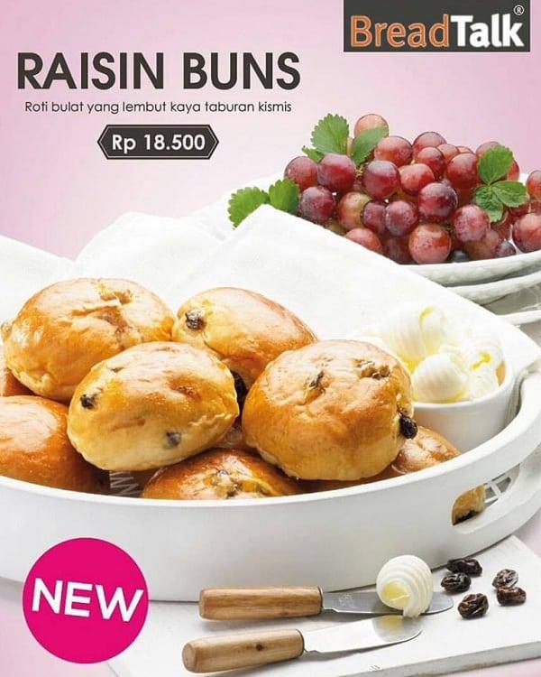 BreadTalk Promo Raisin Buns Hanya Rp. 18.500,-