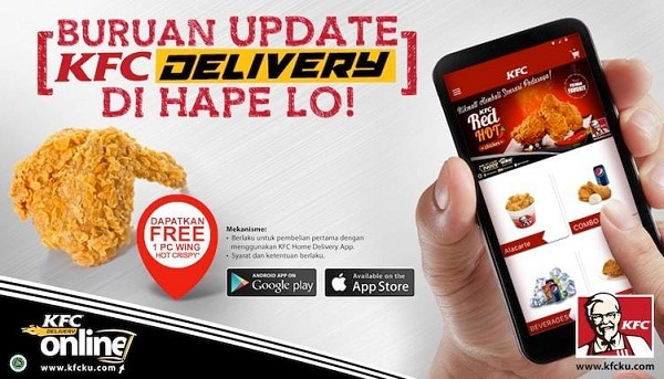 KFC Delivery Promo Gratis 1 Pc Wing Hot Crispy