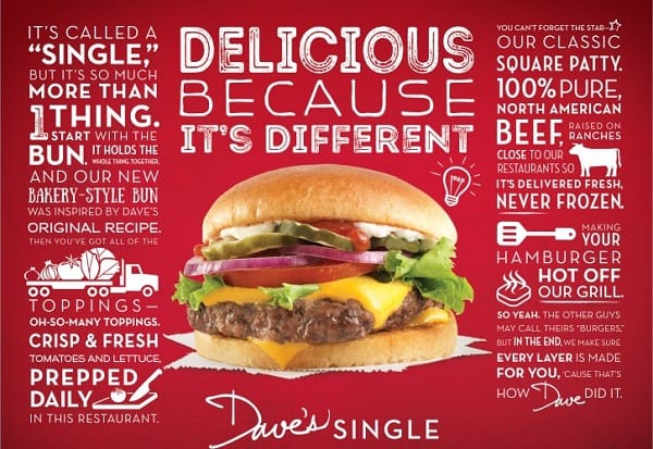 Wendy's Restaurant Promo Dave's Single