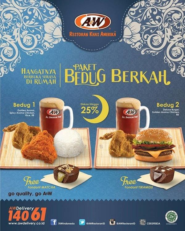 A&W Restaurant Promo Paket Bedug Berkah Diskon 25%