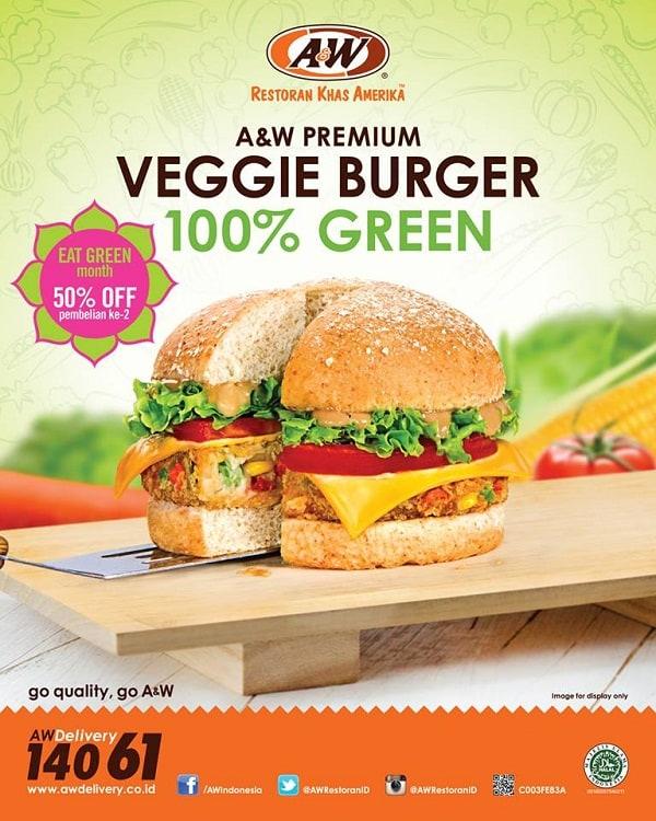 A&W Restaurant Promo Veggie Burger Diskon 50%