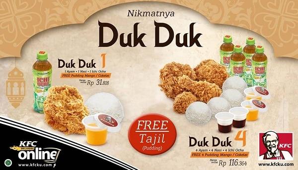 KFC Promo Ramadhan Paket Duk Duk Harga Mulai Rp. 32.818,- Gratis Tajil