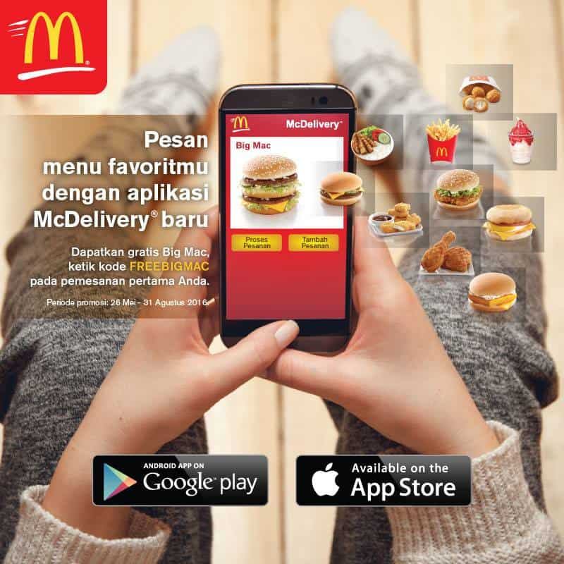 McDonald's Promo Mobile App Delivery Gratis Big Mac