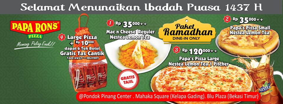 Papa Ron's Pizza Promo Paket Ramadhan Harga Mulai Rp. 35.000,-