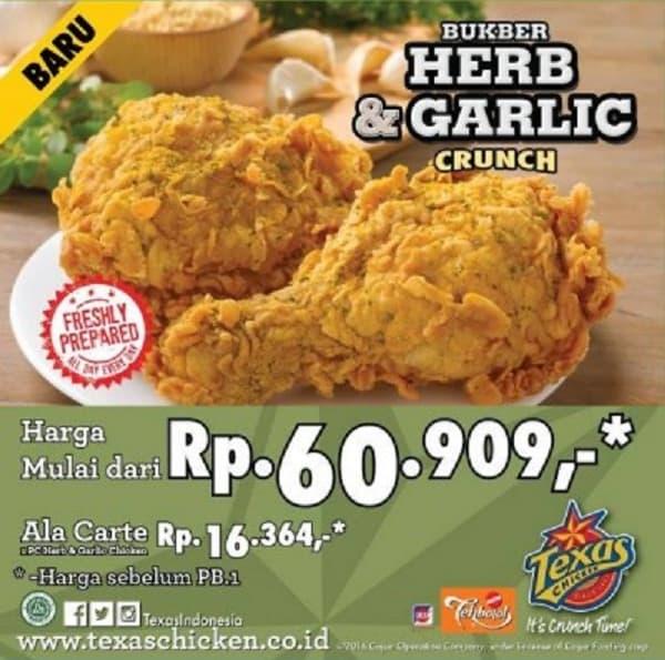 Texas Chicken Promo Bukber Herb & Garlic Crunch Harga Mulai dari Rp. 60.909,-