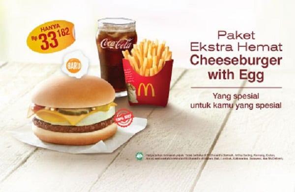 McDonald's Promo Paket Ekstra Hemat Cheeseburger with Egg Hanya Rp. 33.182,-