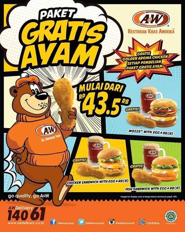A&W Restaurant Promo Paket Gratis Ayam
