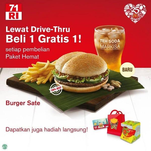 McDonald's Promo Merdeka Beli 1 Gratis 1 Khusus Drive Thru