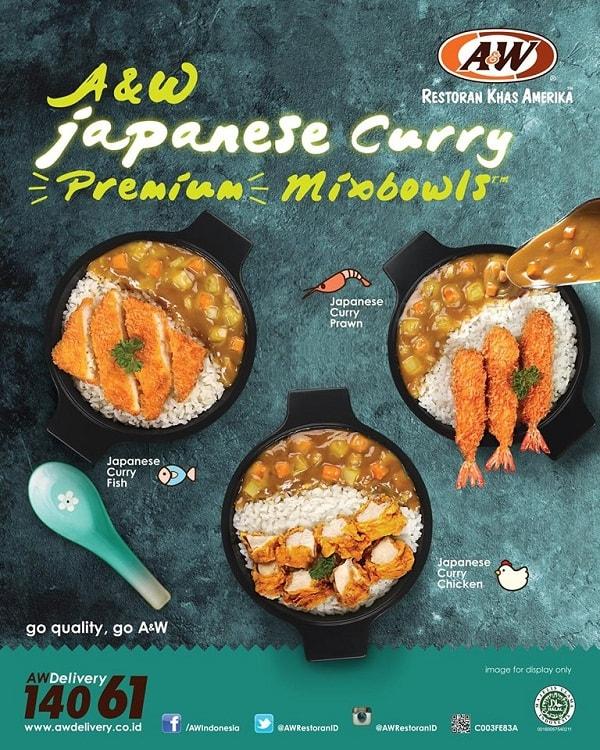 A&W Restaurant Promo Japanese Curry Premium Mixbowl Harga Mulai Rp. 40.000,-