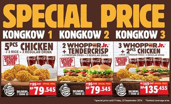 Burger King Promo Special Price Kongkow Harga Mulai Rp. 79.545,-