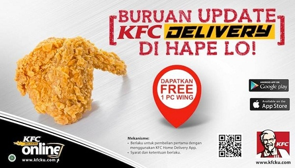 KFC Delivery Promo Spesial Mobile Apps Free 1 Pc Wing