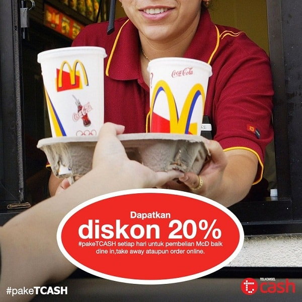 McDonald's Promo Telkomsel Tcash Diskon 20%