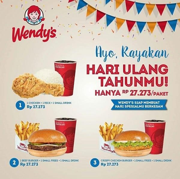 Wendy's Promo Rayakan Hari Ulang Tahun Hanya Rp 27.273,- / Paket